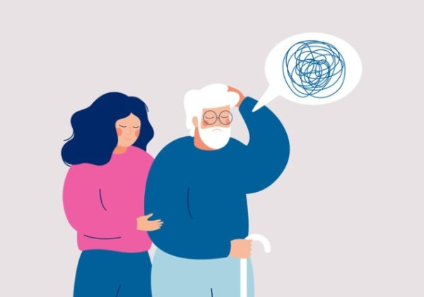 stages of dementia - illustration of elderly with dementia